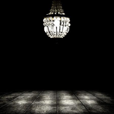 샹들리에 그런 지 어두운 방 인테리어의 이미지. 배경 스톡 콘텐츠 - 35479663