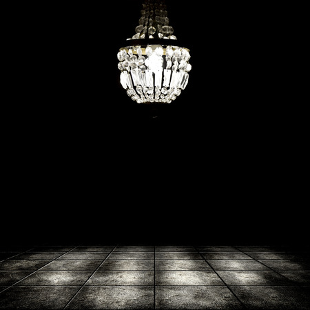 sparkle background: Image of grunge dark room interior with chandelier. Background