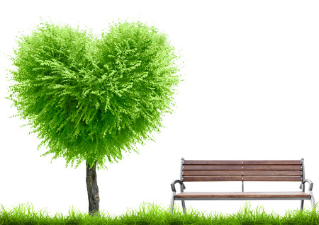 lawn chair: Green grass and tree heart shape and bench on white background with place for text. Valentine day concept