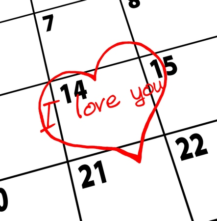 fourteenth: Valentines Day. Date of calendar. Heart