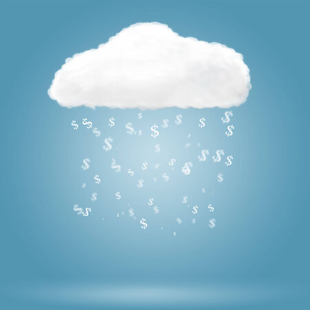 Dollar sign falling from cloud over blue background photo