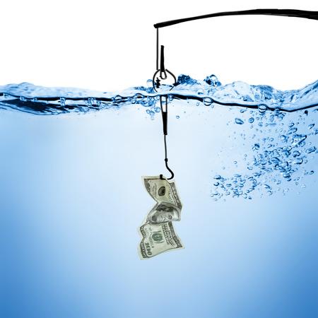 Vislijn en haak met dollar bill onderwater achtergrond