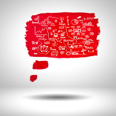 bubble pen: surface blank red paint with sketches on grey background Stock Photo
