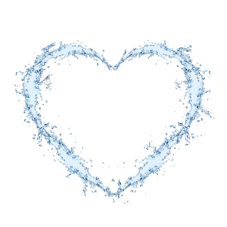 clean heart: Water forming heart shape over white background Stock Photo