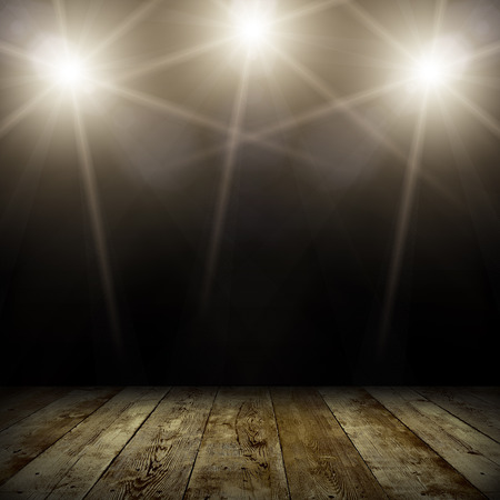 music stage: ilustration of concert spot lighting over dark background and wood floor