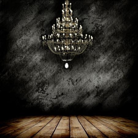 Image of grunge dark room interior with chandelier and wooden floor. Interior background