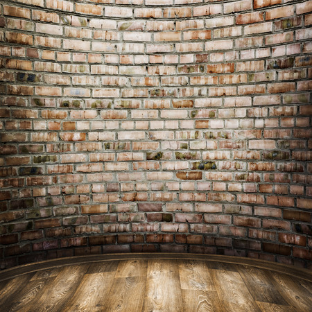 clay brick: room interior vintage with brick wall and wood floor background