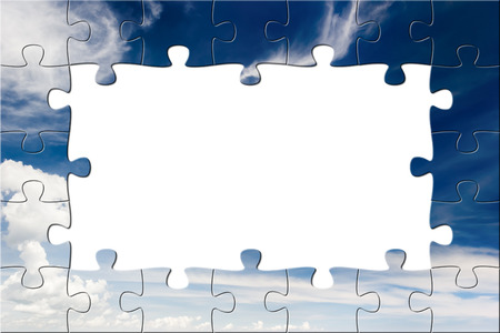 business background: Blue sky and white clouds. Puzzle background Stock Photo