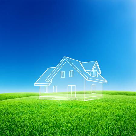 Casa mano schizzo disegnare nel cielo blu con campo verde