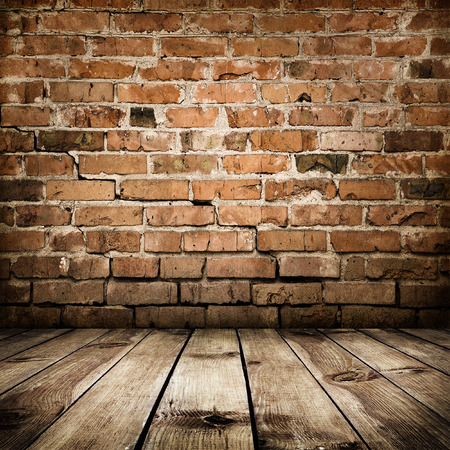 room interior vintage with brick wall and wood floor Stock Photo