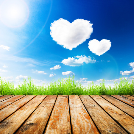wood grass: Green grass on wooden plank over a blue sky with hearts shape clouds. Beauty natural background