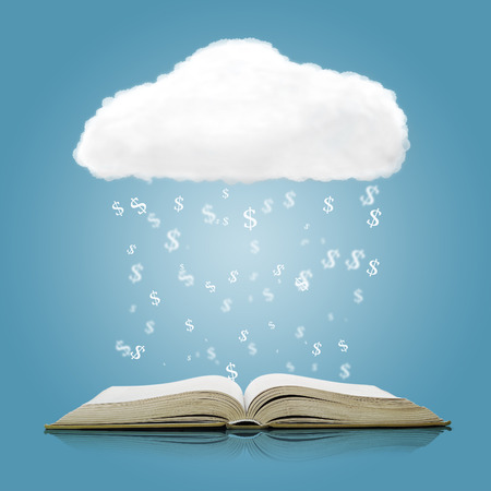 open concept: Open book with cloud and falling dollar sign over blue background