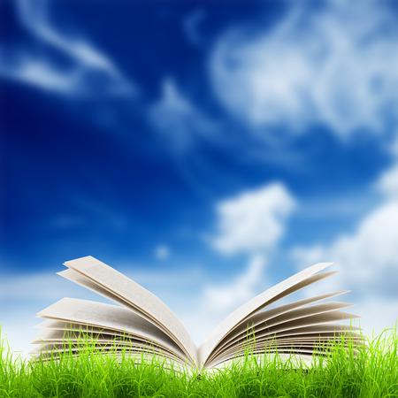 university life: Open book in green grass over bluesky. Magic book