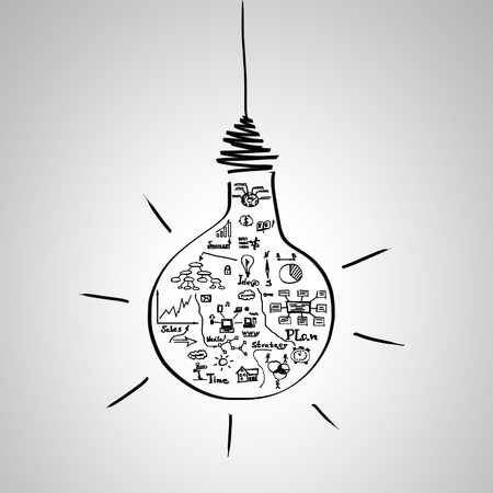 concepto: Mano dibujar bocetos de negocios interior de la bombilla sobre fondo gris