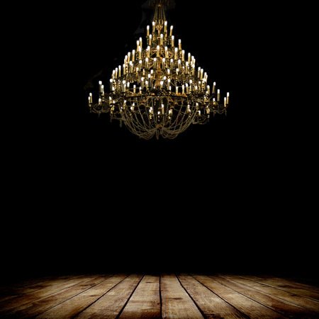 Image of grunge dark room interior with wood floor and chandelier. Background Reklamní fotografie - 36894259
