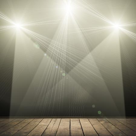 performance: ilustration of concert spot lighting over dark background and wood floor