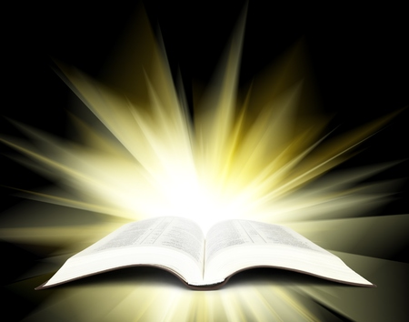 glory: Open Bible with yellow rays of light Stock Photo