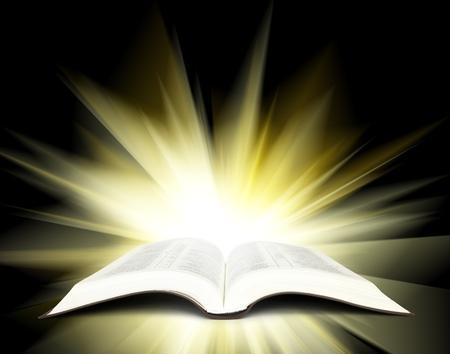 Otevřené bibli se žlutými paprsky světla