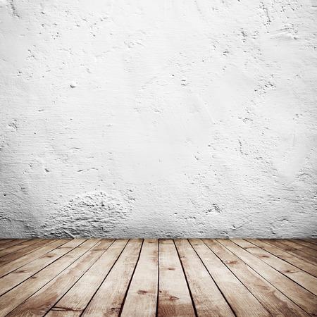 白レンガ壁と木材床の背景を持つ部屋インテリア ヴィンテージ 写真素材