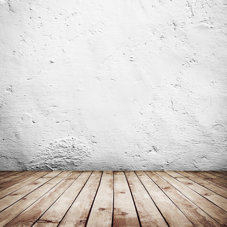 white wood floor: room interior vintage with white brick wall and wood floor background