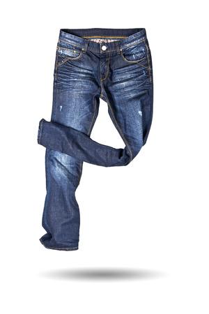 in jeans: Blue jeans pantal�n aislados en el fondo blanco