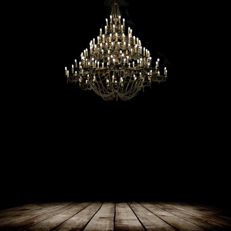 wood ceiling: Image of grunge dark room interior with wood floor and chandelier. Background