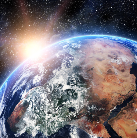 sunlight earth: Earth. View from space.