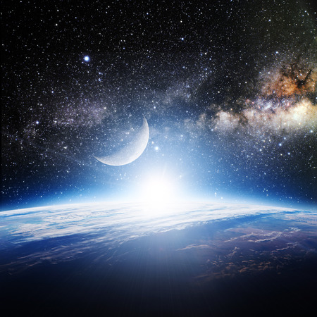 cielo y mar: Tierra. Vista desde el espacio.