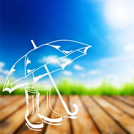 botas de lluvia: Hierba verde en tabl�n de madera sobre un cielo azul. Belleza natural de fondo