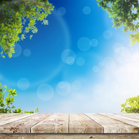 Verse lente groene bladeren met blauwe bokeh en zonlicht en houten vloer. Natuurlijke achtergrond