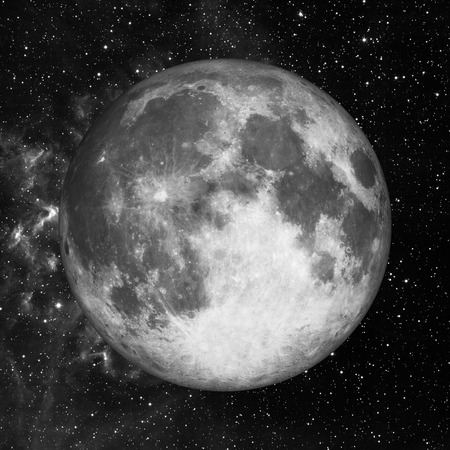 full: Full moon in space over stars background.
