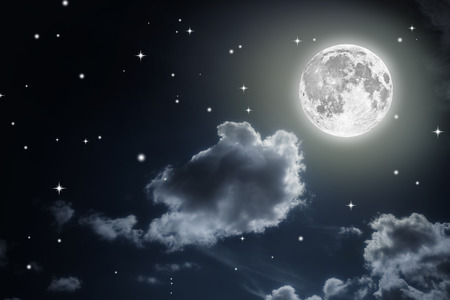 Night sky with stars and full moon background.