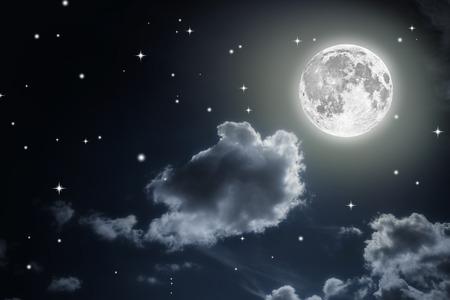 Cielo notturno con stelle e luna piena sfondo. Archivio Fotografico - 37480371