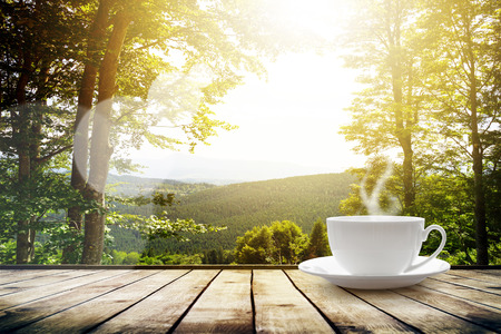 morning coffee: Cup with tea on table over mountains landscape with sunlight. Beauty nature background