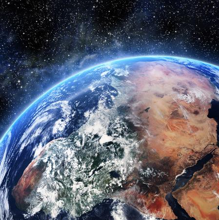 Aarde. Bekijken vanuit de ruimte. Elementen van deze afbeelding geleverd door NASA