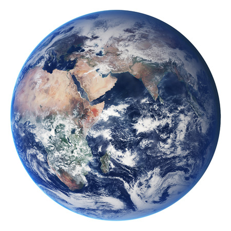 Bol van de aarde op een witte achtergrond. Elementen van deze afbeelding geleverd door NASA