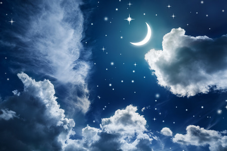 over the moon: Night sky with stars and moon Stock Photo