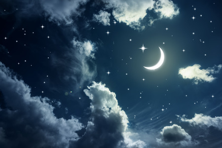 Night sky with stars and moon Imagens