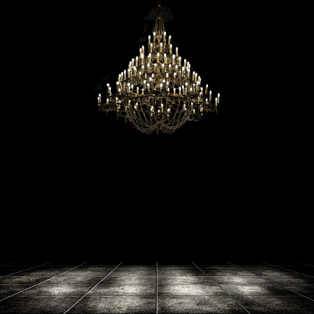 chandelier background: Image of grunge dark room interior with chandelier. Background