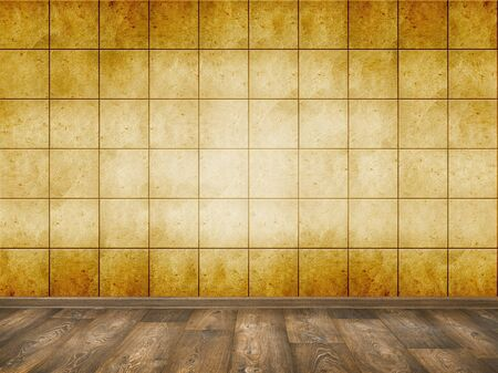 mosaic floor: mosaic room, interior background with wood floor Stock Photo
