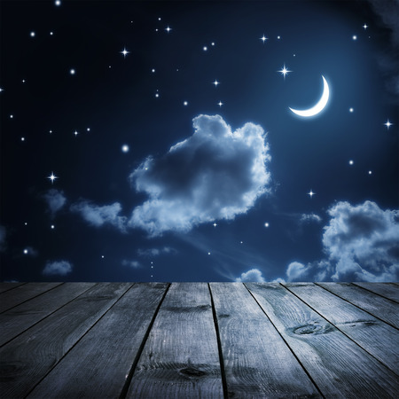 dark skies: Night sky with stars and moon, wooden planks
