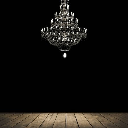 crystal chandelier: Image of grunge dark room interior with wood floor and chandelier. Background