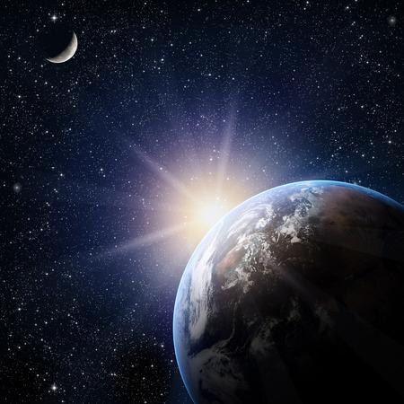 noche y luna: Tierra. Vista desde el espacio.