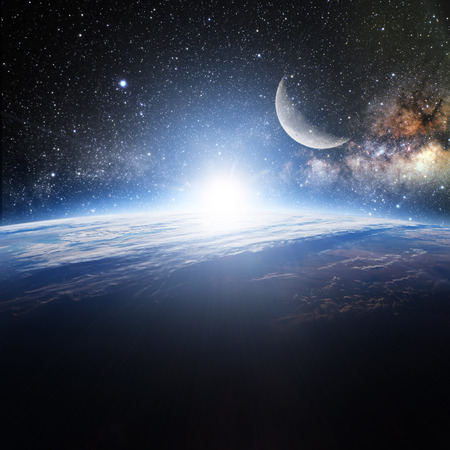sun and moon: Earth. View from space.