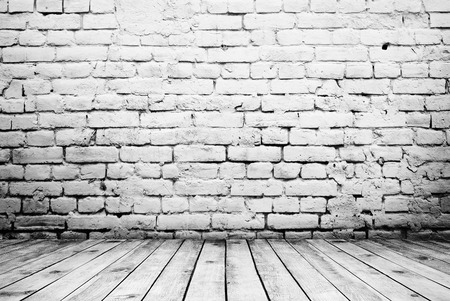 Camera vintage interni con muro di mattoni bianchi e legno piano di sfondo Archivio Fotografico - 43287938