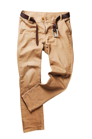 trouser: Brown jeans trouser over white background