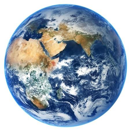 planeta verde: Globo de la tierra aislado en fondo blanco. Foto de archivo
