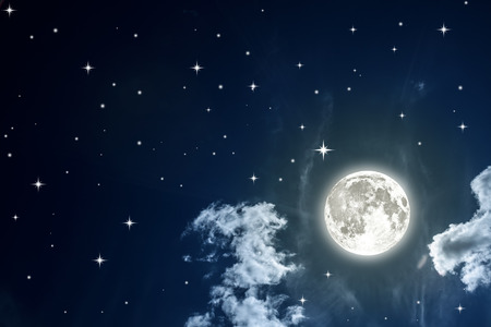 over the moon: Night sky with stars and full moon background.