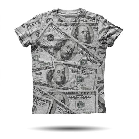 man t shirt: Grey shirt with dollars on it isolated over white background