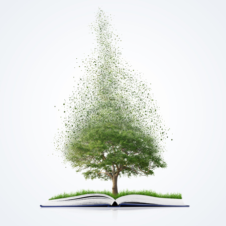 disintegrate: book of nature with grass and tree growth and disintegrate, isolated on white background